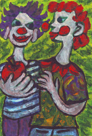 stage performer: Two clowns friends painting Stock Photo