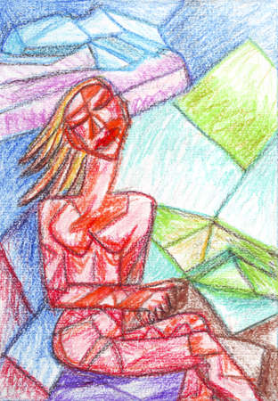naked female body: Girl with eyes closed cubism, oil pastel painting Stock Photo