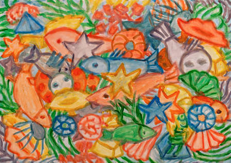 under water grass: Underwater world abstract acrylic painting.