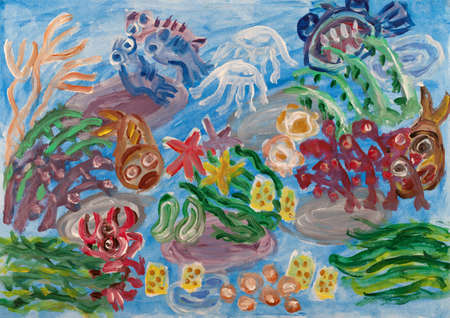 Underwater world abstract painting Stock Photo