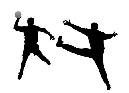 terrain de handball: joueur de handball et le gardien Illustration