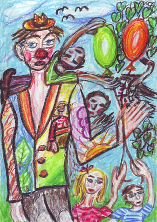 wanderer: Clown and kids oil pastel painting