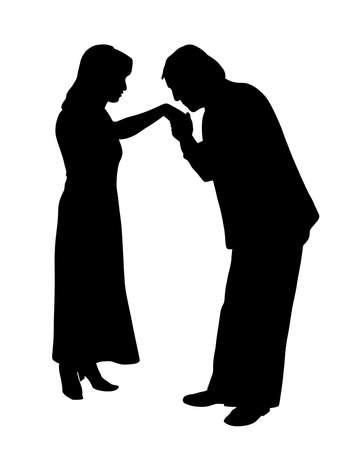 Man kissing woman's hand