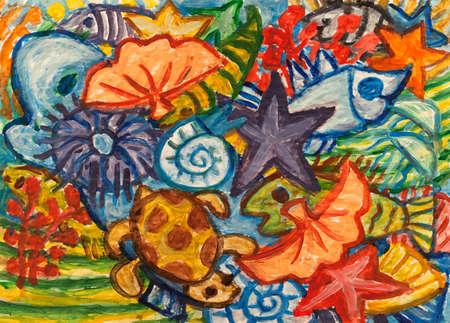 underwater world: Underwater world abstract painting Stock Photo