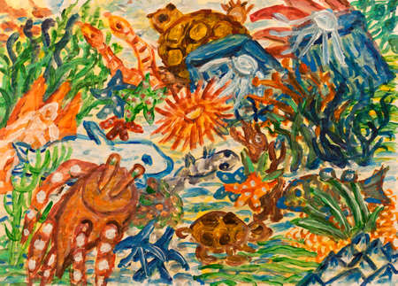 under water grass: Underwater world abstract painting Stock Photo