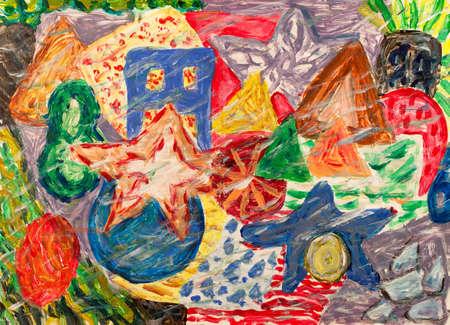 Grunge underwater world abstract painting