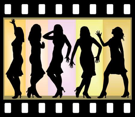 Five attractive beautiful girls posing