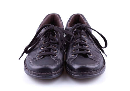shoestrings: Black leather mens shoes Stock Photo