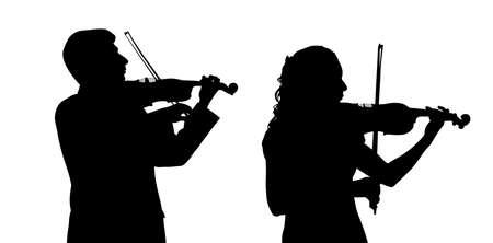 virtuoso: Male and female violinist Illustration