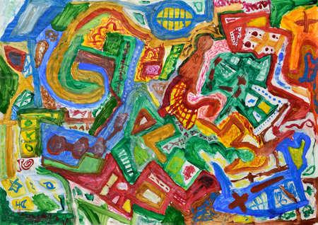 pintura abstracta: Mano abstracto colorido fondo pintado. Pintura acrílica.
