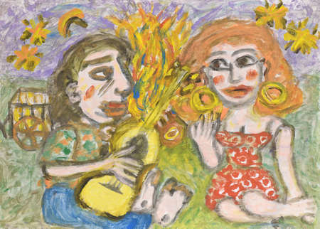 woo: Man playing a guitar for a woman. Acrylic painting. Stock Photo