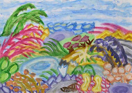 the sunken: Underwater world abstract painting Stock Photo