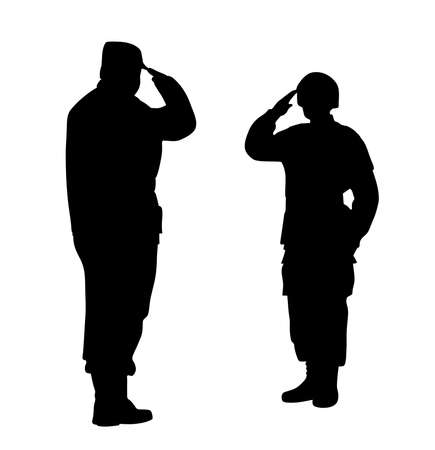 Le commandant et le soldat se saluent