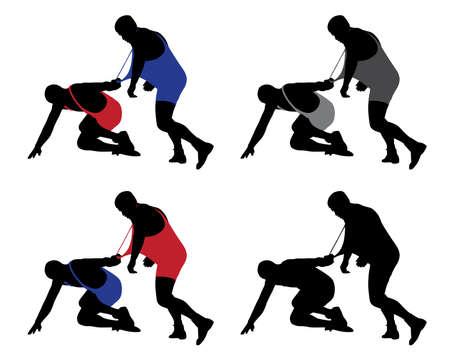 Wrestler pulling opponents uniform Çizim