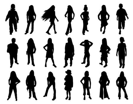 Kids models at fashion show. Twenty one silhouettes.