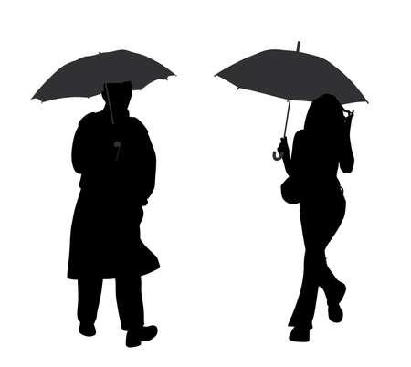 Man and woman with umbrella Illustration