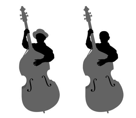 contra bass: Boy contrabassist Illustration