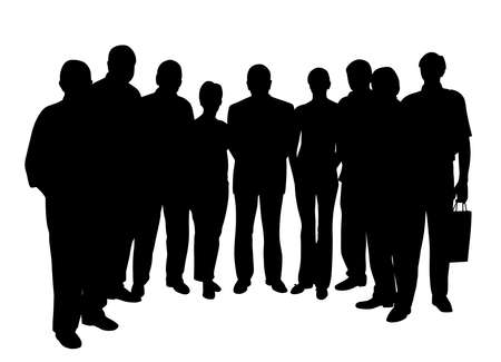 Group of people, seven men and two women Illustration