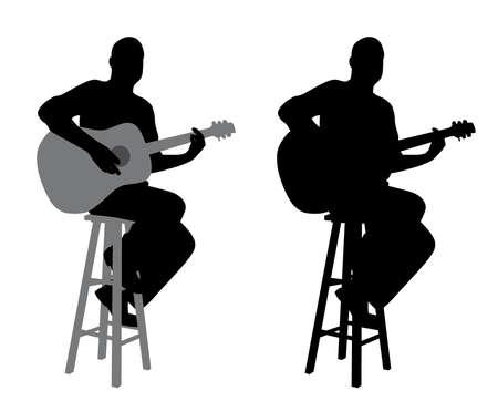 어쿠스틱 기타를 연주 막대 의자에 앉아 기타 플레이어의 그림 일러스트