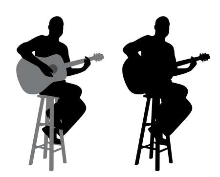 Illustration of a guitar player sitting on a bar stool playing acoustic guitar