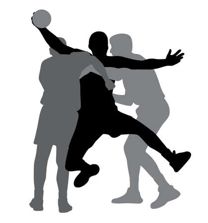 Two handball players blocking opponent player Illustration