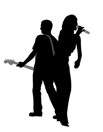 Silhouette of a woman singer and man guitar player isolated white background.