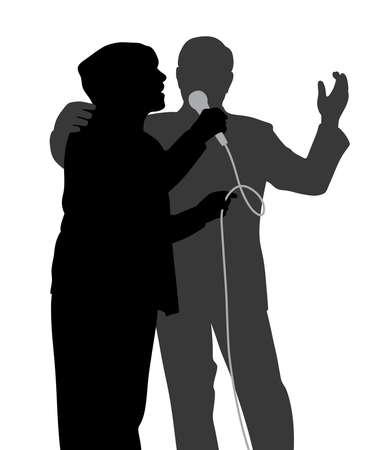 duet: Senior singing duet Illustration