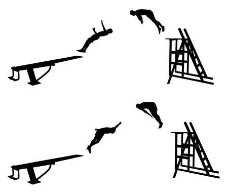 diving platform: Jumping into water lake ocean sea river pool Illustration
