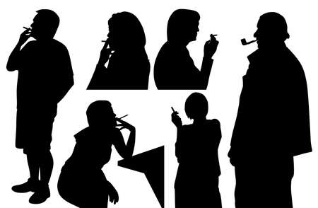 People smoking cigarette and pipe
