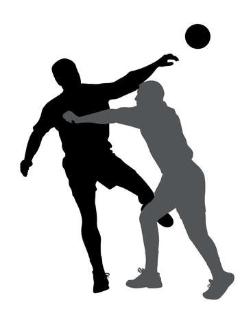 Handball player blocking opponent player. Çizim