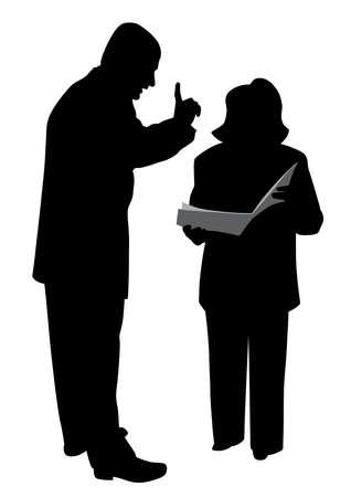 Männlicher Chef, der Anweisungen erteilt oder seinen weiblichen Angestellten warnt