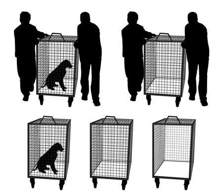 Oficiales de control de animales con perro en jaula o jaula vacía