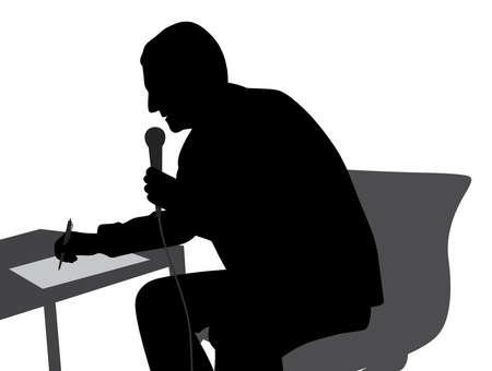 Speaker speaking writing conducting the event Illustration