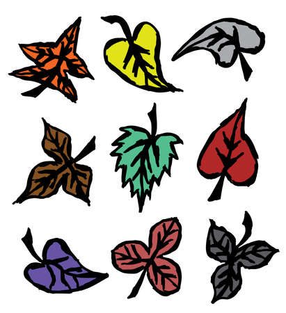 Grunge autumn leaves. Hand drawn.