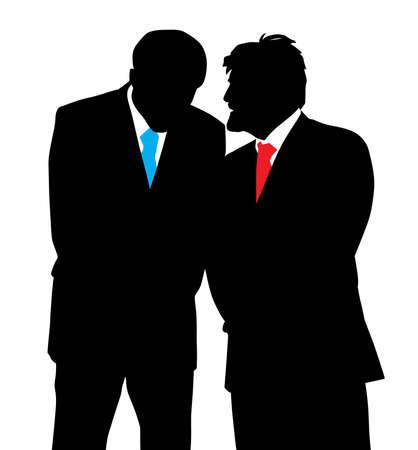 Twee zakenlieden discreet gesprek Een geheim vertellen Stock Illustratie