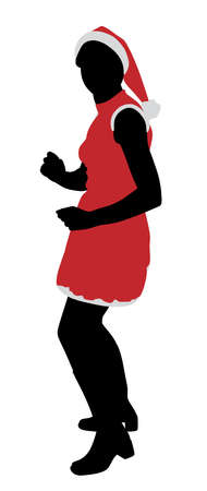 black youth: Illustration of Santa girl dancing. Illustration