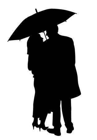Back view of a couple under an umbrella