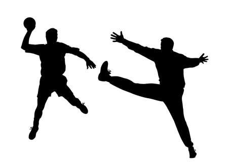 Handbalspeler en keeper