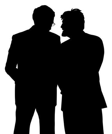 Two businessmen discreet conversation. Telling a secret.
