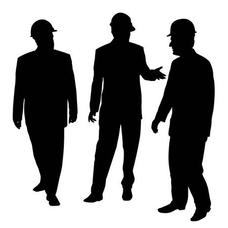 Three businessmen architects engineers or workers with a protective helmet walking and talking about new project. Ilustração Vetorial