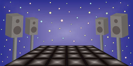 Illustration of futuristic dance night party space. EPS file available. Illustration