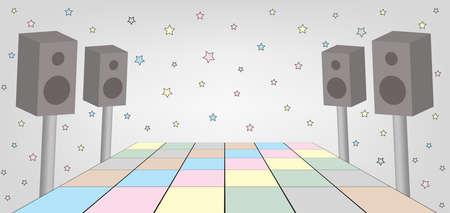 ダンス パーティーのためのスペースのイラスト。EPS ファイルが利用可能です。