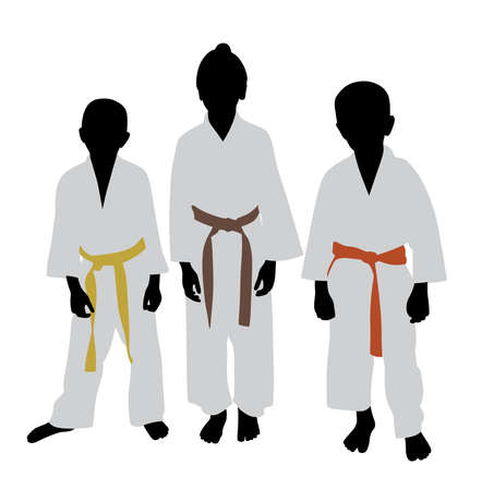 Three karate kids with different color belt rank.