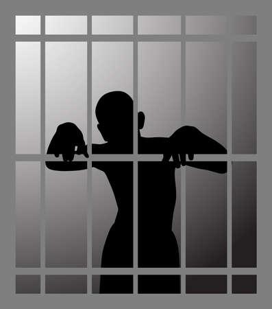 Man in prison or dark dungeon behind bars