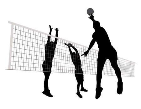 Mannen spelen volleybal silhouet. Stock Illustratie