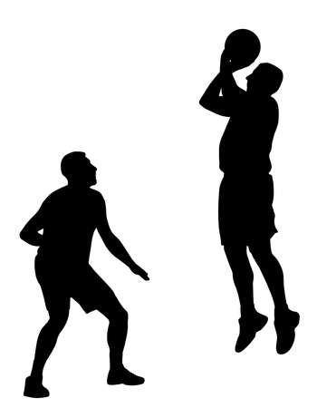Illustration of two men basketball players in action. Isolated white background. EPS file available.