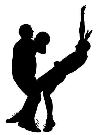 Basketball offensive game illustration. Illustration