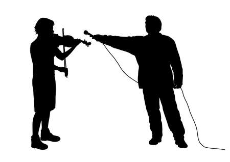 Interview with female violinist musician or recording music sound.