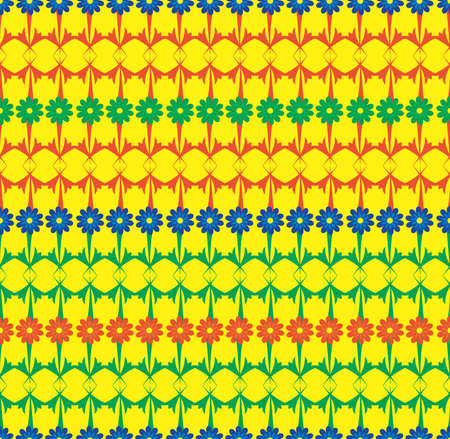 Blue green red horizontal rows of flowers seamless vector pattern. Illustration