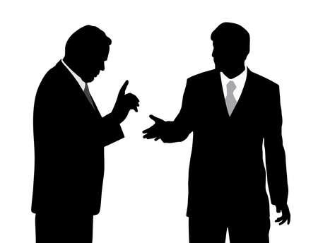 Two silhouette businessmen arguing illustration. Illustration